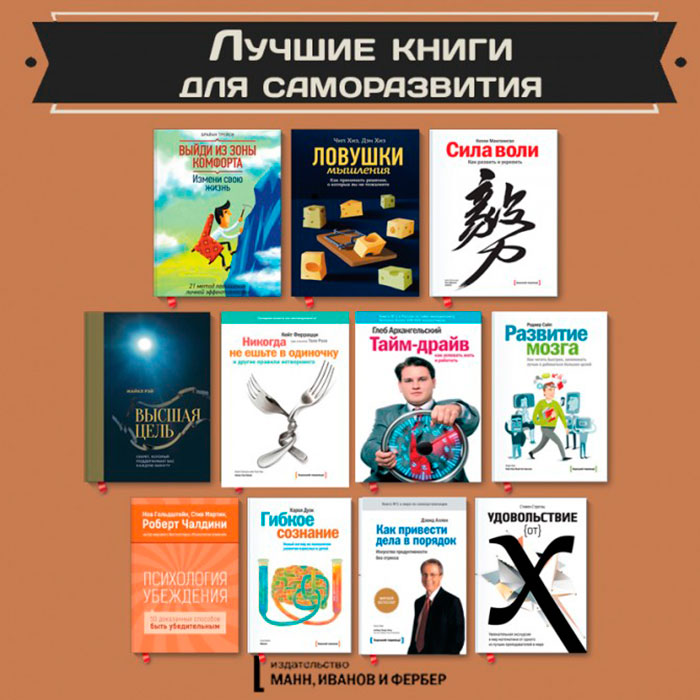 Лучшие книги для саморазвития по версии Манн, Иванов и Фербер