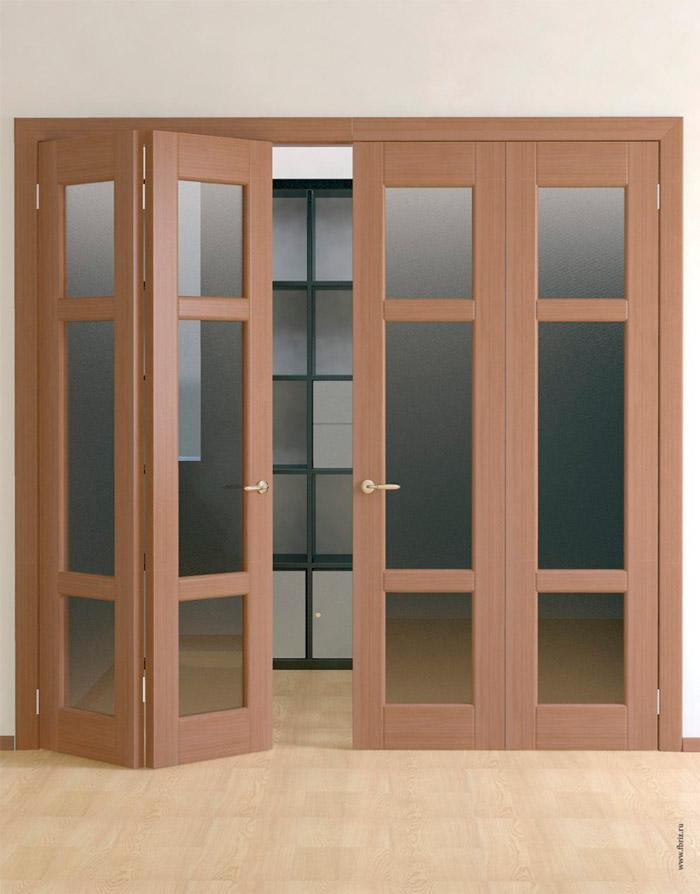 Межкомнатные стеклянные двери-гармошки