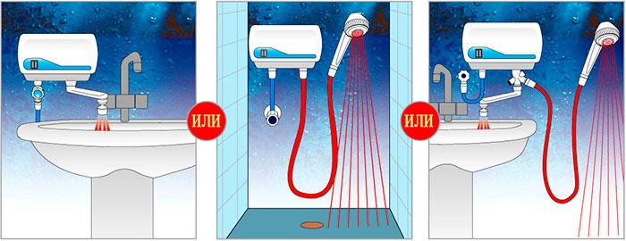 Варианты установки проточного водонагревателя