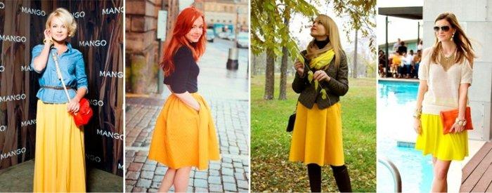 Для вещей белого, серого, голубого и чёрного цвета подойдёт жёлтая юбка