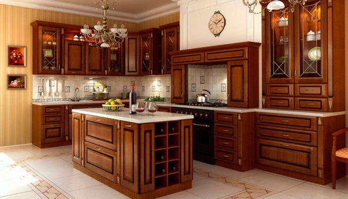 Натуральная древесина – один из наиболее популярных материалов для кухонного фасада